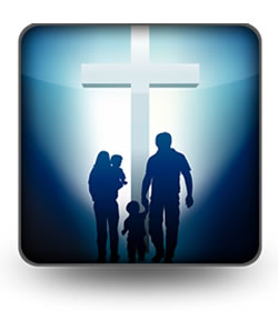 People in Front of a Cross in Shadow